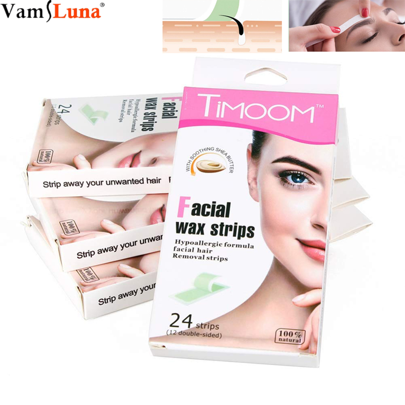 Facial Wax Strips Hair Removal Wax Sticker Paper Kit 24pcs