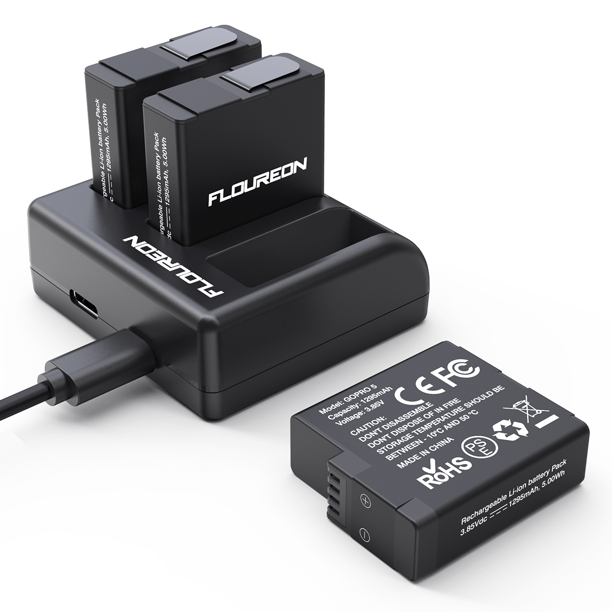 New Replacement Battery 3-Channel Charger for GoPro Hero 5 Hero 6 2 Pack 7