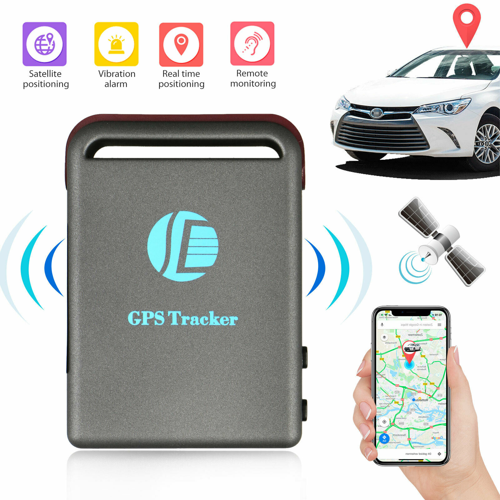 Mini Magnetic GPS GSM GPRS Car Tracking Locator Device Free Installation Hidden Car Tracker with Audio Listening for Covert Monitoring of Teen Drivers Kids Elderly Employees