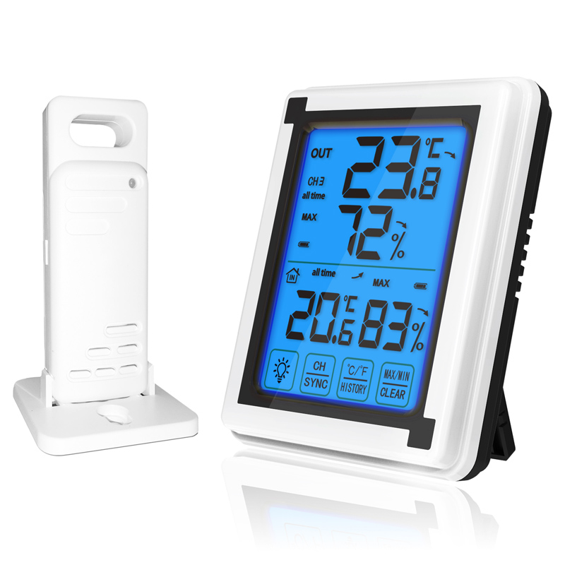 Steel Case Blue Dial Thermometer Hygrometer Household Weather Meter With Brace