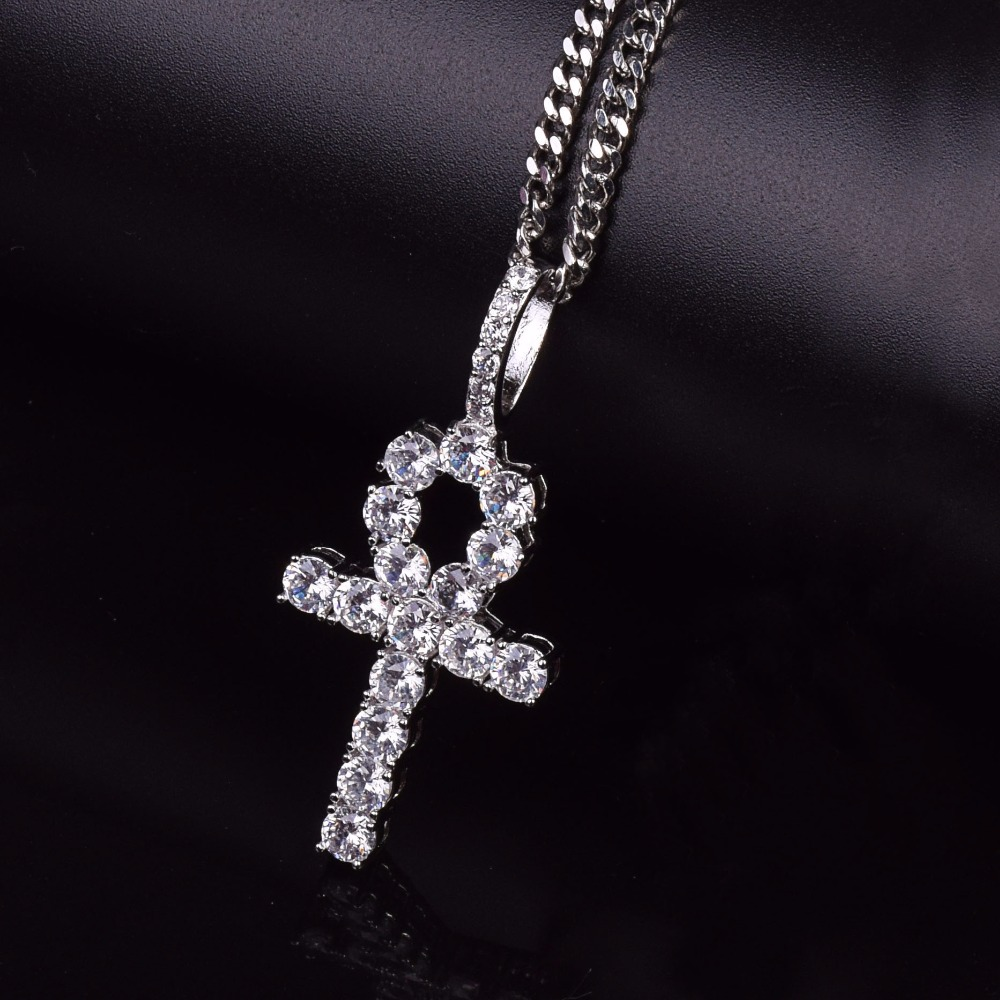 "MINI ANKH CROSS /& LUV ICED PENDANT /& 20/"" 24/"" BOX CHAIN HIP HOP NECKLACE SET"