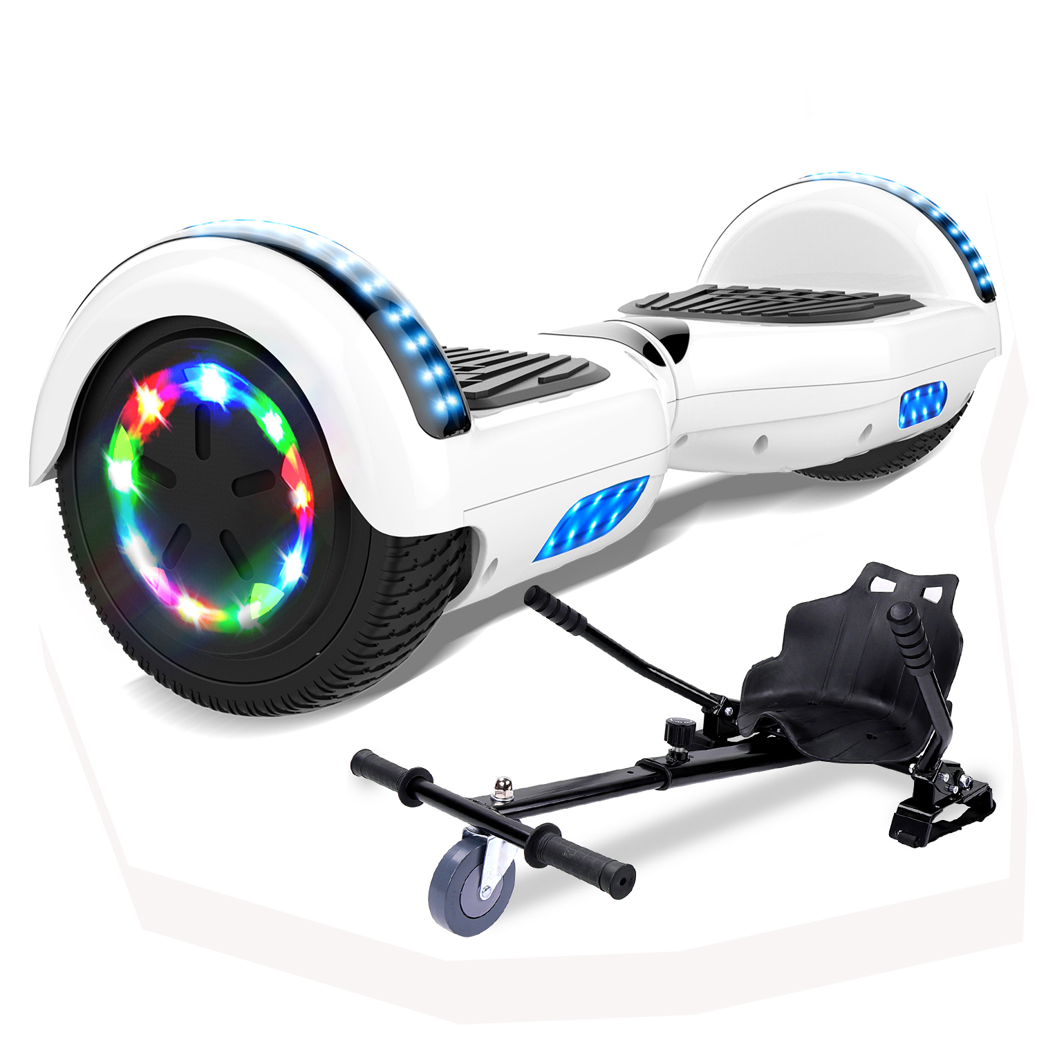 Mega Motion Self Balancing Scooter Hoverboard 6 5 With Hoverkart Led Lights Bluetooth Speaker Sale Price Reviews Gearbest Mobile