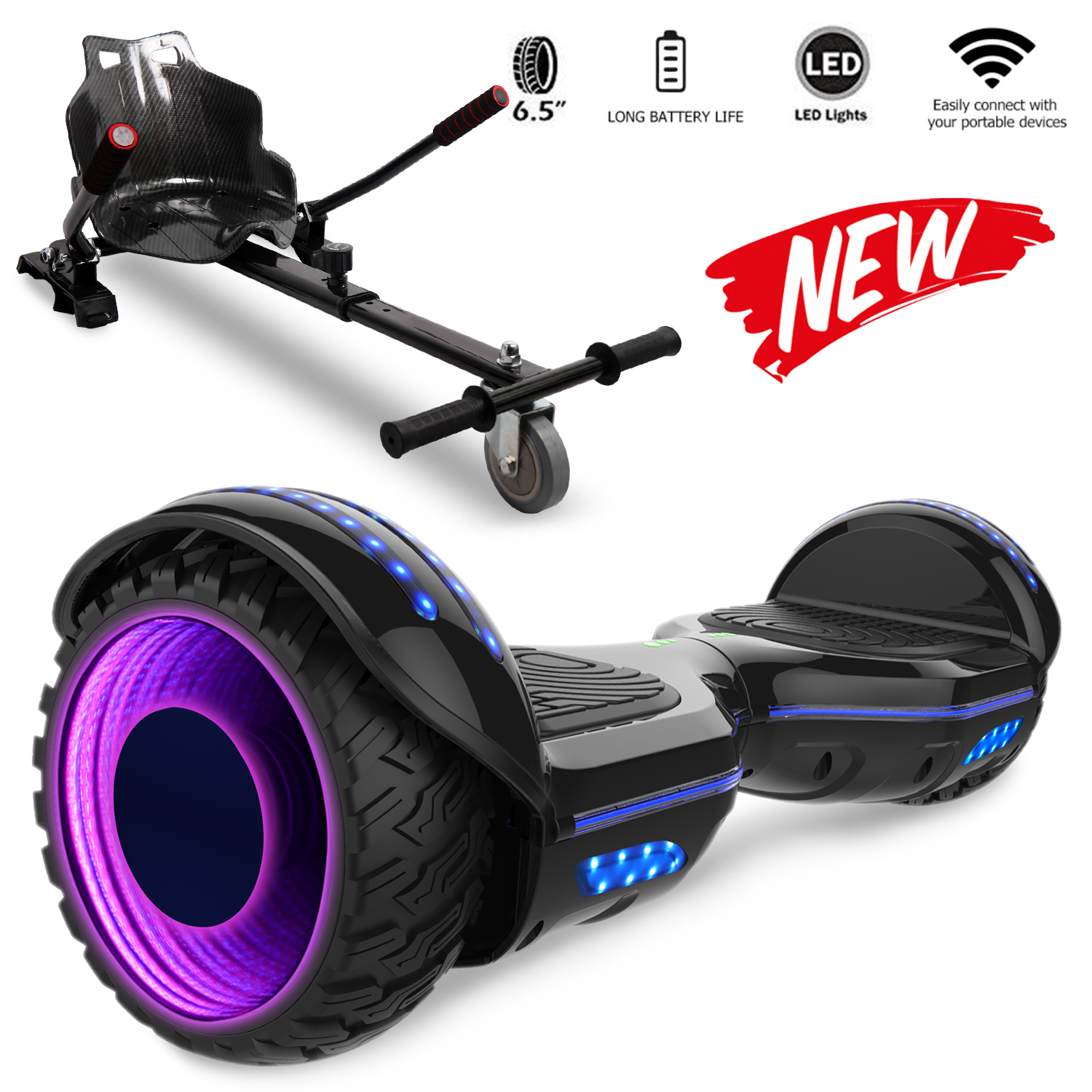 Self Balancing Scooter Hoverboard 6 5 With Hoverkart Adjustable Led Wheel And Built In Bluetooth Sale Price Reviews Gearbest