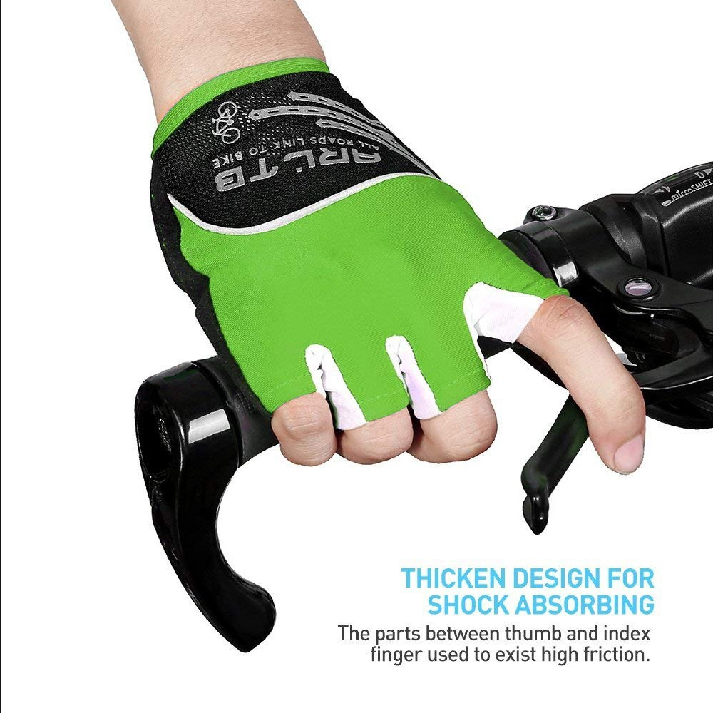 MTB Mountain Bike Bicycle Cycling Half Finger Gloves GEL Silicone Pad Fingerless