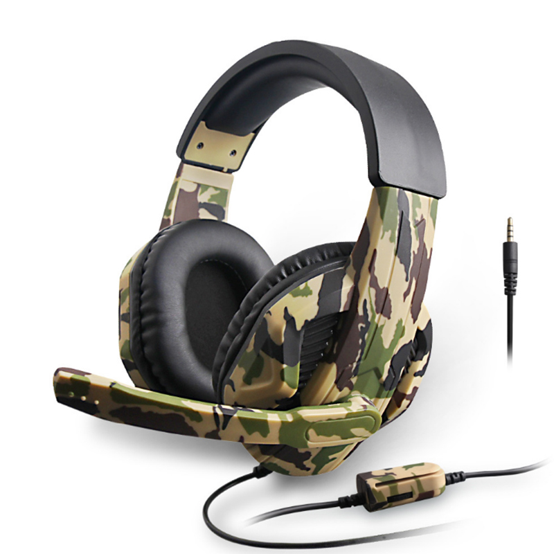 Gaming Headphones Stereo Camouflage Extra Bass Headset 3.5mm Interface,Noise Cancelling Headband Earphones with 36dB Mic LED Light for PC Mobile Phone