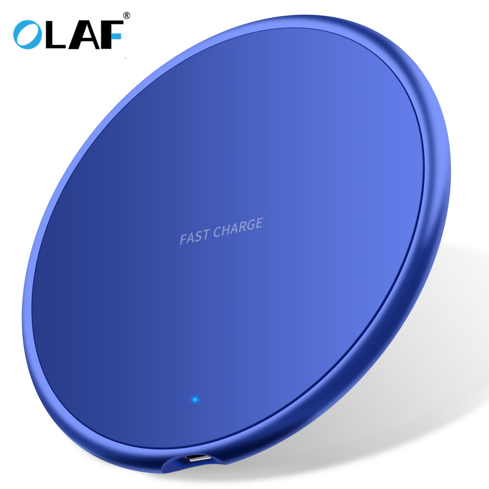 OLAF 10W Ultrathin Round Intelligent Fast Wireless Charger for iPhone Huawei Xiaomi Phones