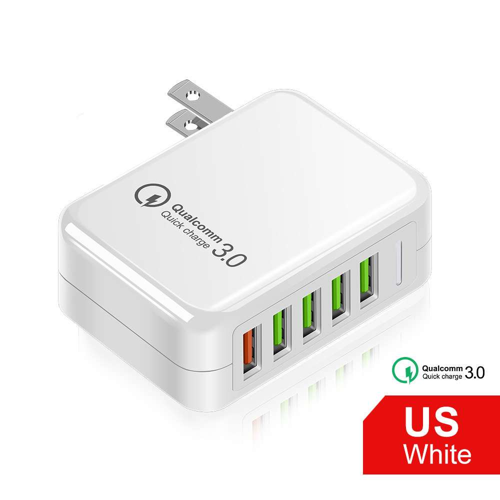 OLAF 36W 5 Port USB Charger Quick Charge 3.0 Fast Charger For iPhone 12 11 Samsung Huawei Xiaomi Mobile Phone Charger Adapter - White 1 pcs China US
