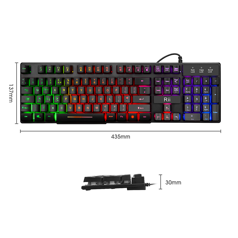 T5 Multiple Color Rainbow LED Backlit Mechanical Feeling USB Wired Gaming Keyboard and Mouse Combo for Working or Game Black