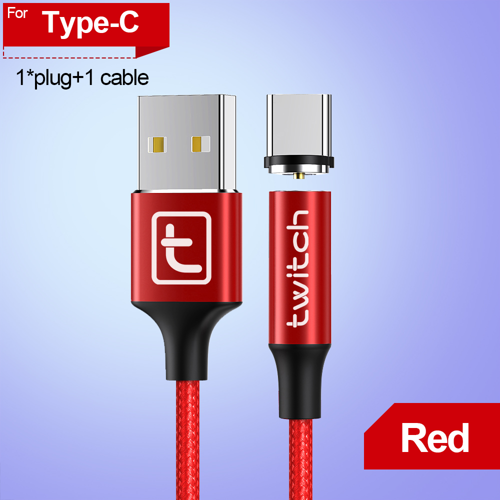 Twitch 1M 2M Magnetic Micro Type C Cable For iPhone Samsung Android Mobile Phone Fast Charging