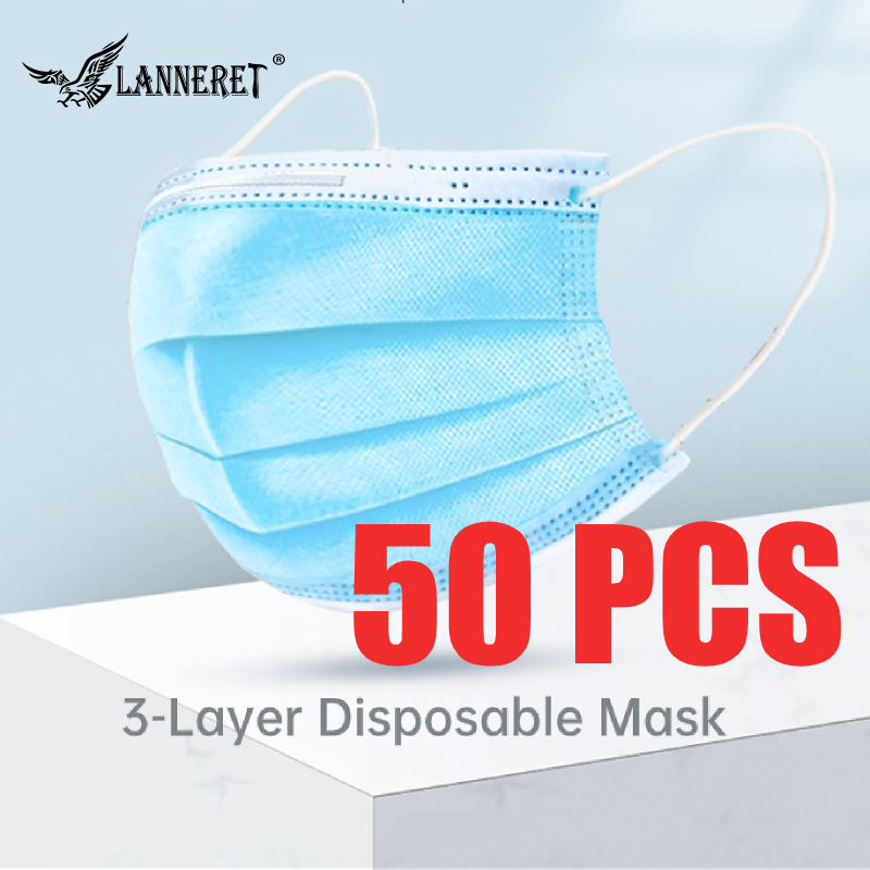 50 PCs 3 Layers Face Mack Cloth Kit with Elastic Band for Dust Sports Festivals Outdoors C