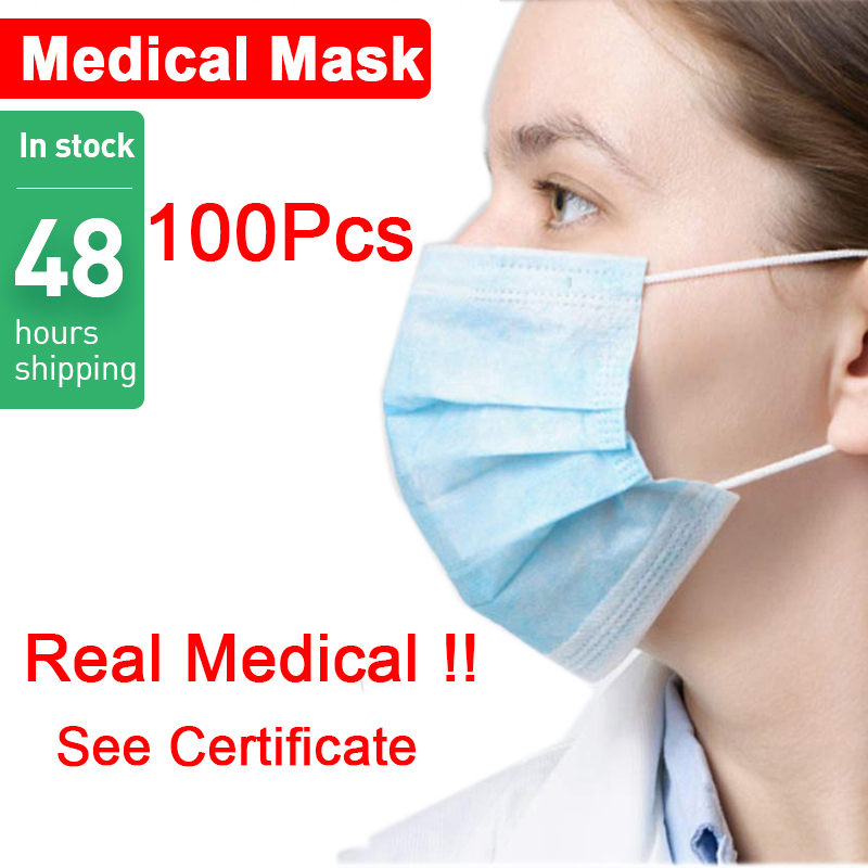 Disposable 50Pcs Medical Surgical Anti Dust Ear Loop Face Mouth Masks Windproof