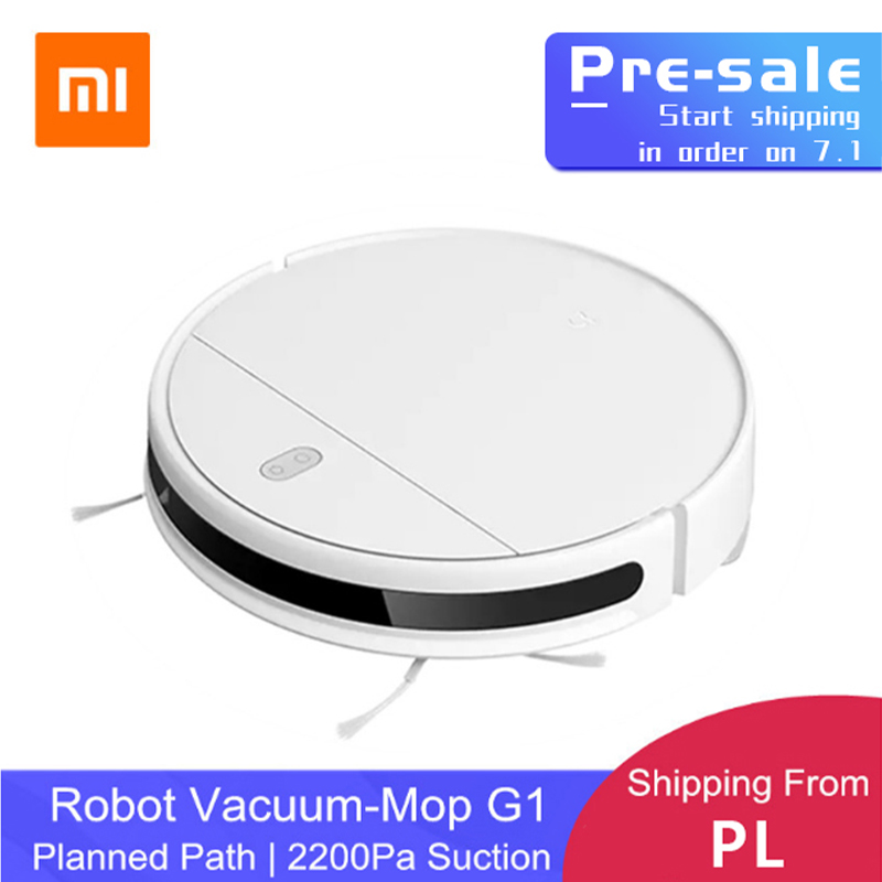 Pre Sale XIAOMI MIJIA Mi Sweeping Mopping Robot Vacuum Cleaner G1 For Home Cordless Washing 2200PA Cyclone Suction Smart Planned WIFI  white Poland EU