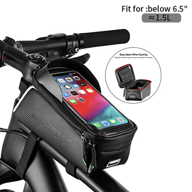 ROCKBROS Bike Bags Bicycle Front Tube Bag Touch Screen Waterproof For 6.0 inch