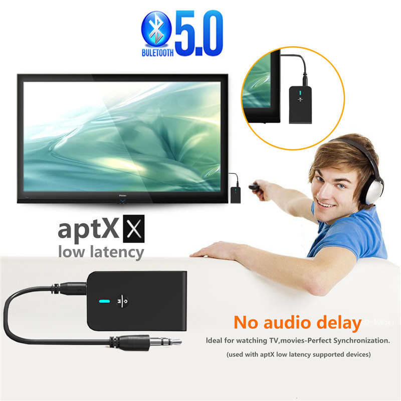 Bluetooth Car Adapter 5.0 for Wired Speakers//Headphones//Home Music Streaming Stereo CSR//APTX//A2DP//AVRCP Built-in Microphone ,8-Hour Playtime,Easy Control On//Off Slider Aux Bluetooth Receiver