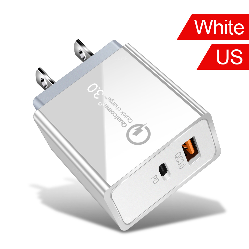 48W USB Quick Charge 3.0 PD Type C USB Charger for Samsung iPhone Tablet QC 3.0 Fast Wall Charger US EU UK Plug Adapter