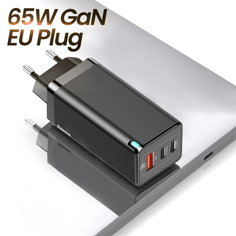 Baseus 65W GaN Charger Quick Charge 4.0 3.0 Type C PD USB Charger with QC 4.0 3.0 Portable Fast Charger For Xiaomi Laptop  EU Plug Black China