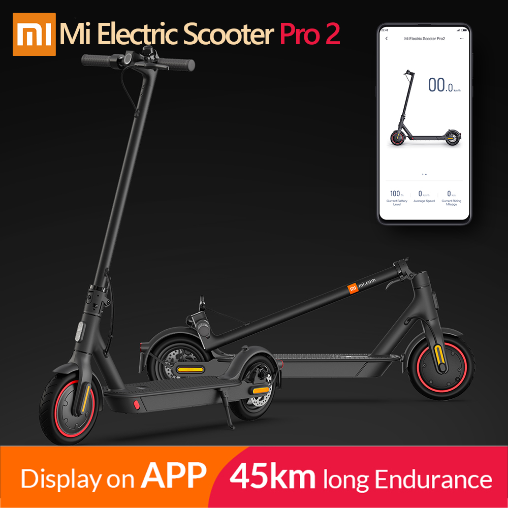 2020 Original Xiaomi Mijia Pro 2 Smart Electric Scooter Foldable Mi Hoverboard Skateboard Kick Scooter with APP 45KM Mileage  Pro 2 Poland
