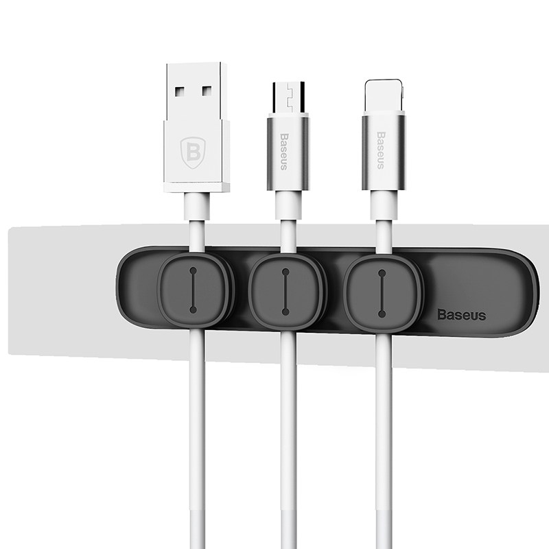 Baseus Magnetic Protector Cable Clip Desktop Tidy Cable Organizer USB Charger Cable Holder Cable Management - Blac
