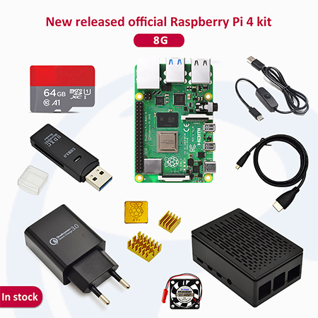 Raspberry pi 4 2GB/4GB/8GB Kit Raspberry Pi 4 Model B PI 4B +Heat Sink+Power Adapter+Case +HDMI Cable+3.5 inch Screen - 8GB-64G SDcard