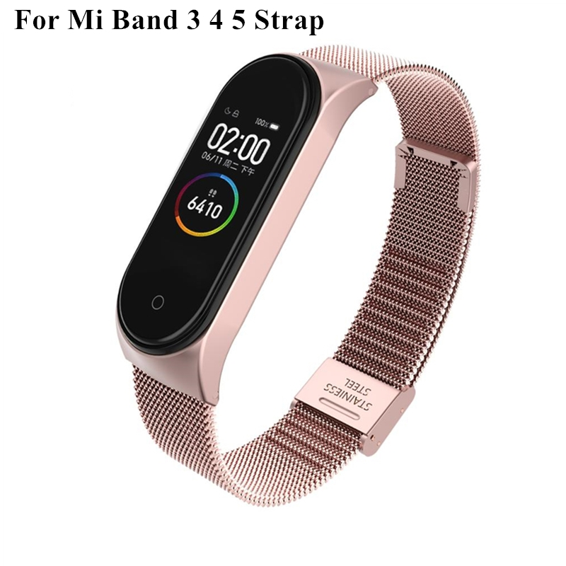 trap For Xiaomi Mi Band 3 4 5 Wrist Metal Bracelet Screwless Stainless Steel MIband for Mi Band 4 3 5 Strap Wristbands Pulseira - Rose gold For Mi band 4