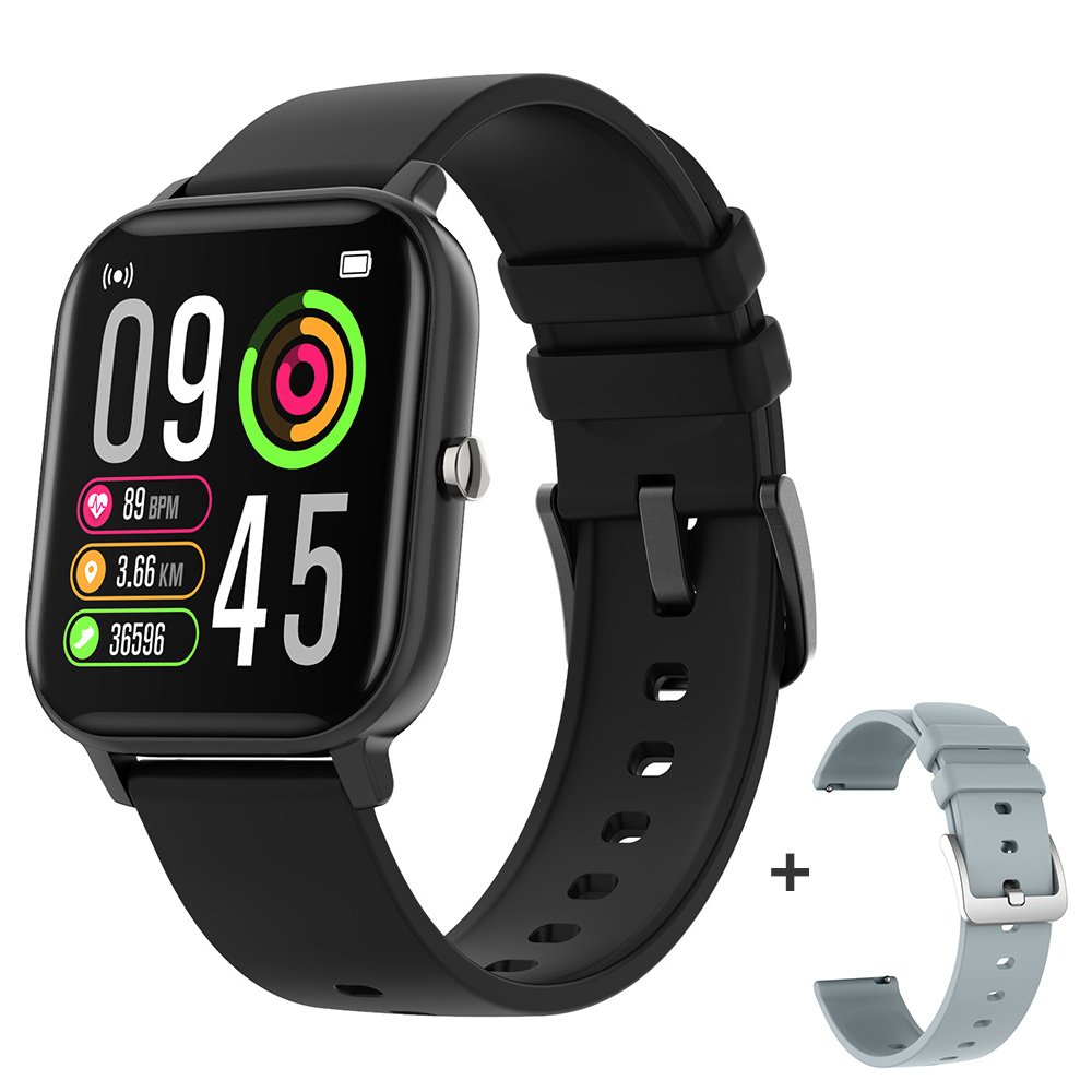 COLMI P8 Pro Smart Watch Temperature IP67 Waterproof Full Touch Fitness Tracker Heart Rate Monitor Women Men Smartwatch - Black with a strap