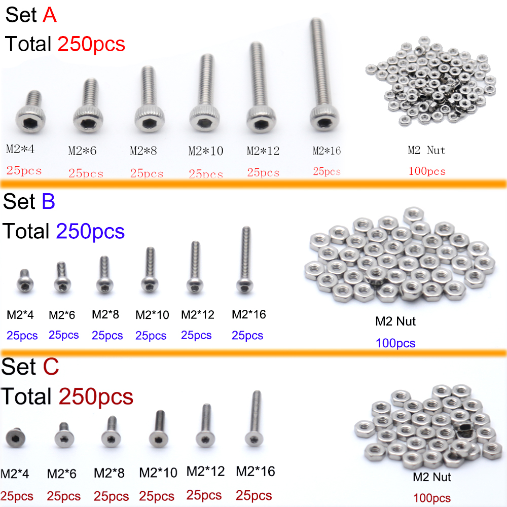 Useful 250pcs M3 A2 Stainless Steel Allen Bolts With Hex Nuts Screws Assortment