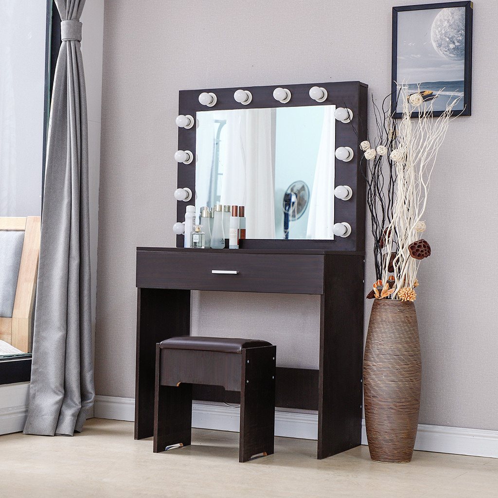 Vanity Set Dressing Table With Lighted Mirror Cushioned Stool Bedroom Vanity Makeup Table Sale Price Reviews Gearbest Mobile