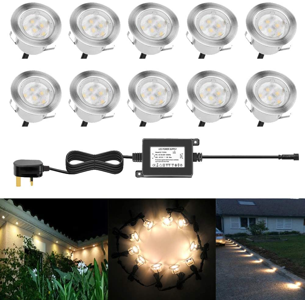 45mm Warm White Led Decking Lights Kitchen Plinth Lights Outdoor Low Voltage Ip67 Waterproof Deck Lighting Kits Pack Of 10 Sale Price Reviews Gearbest