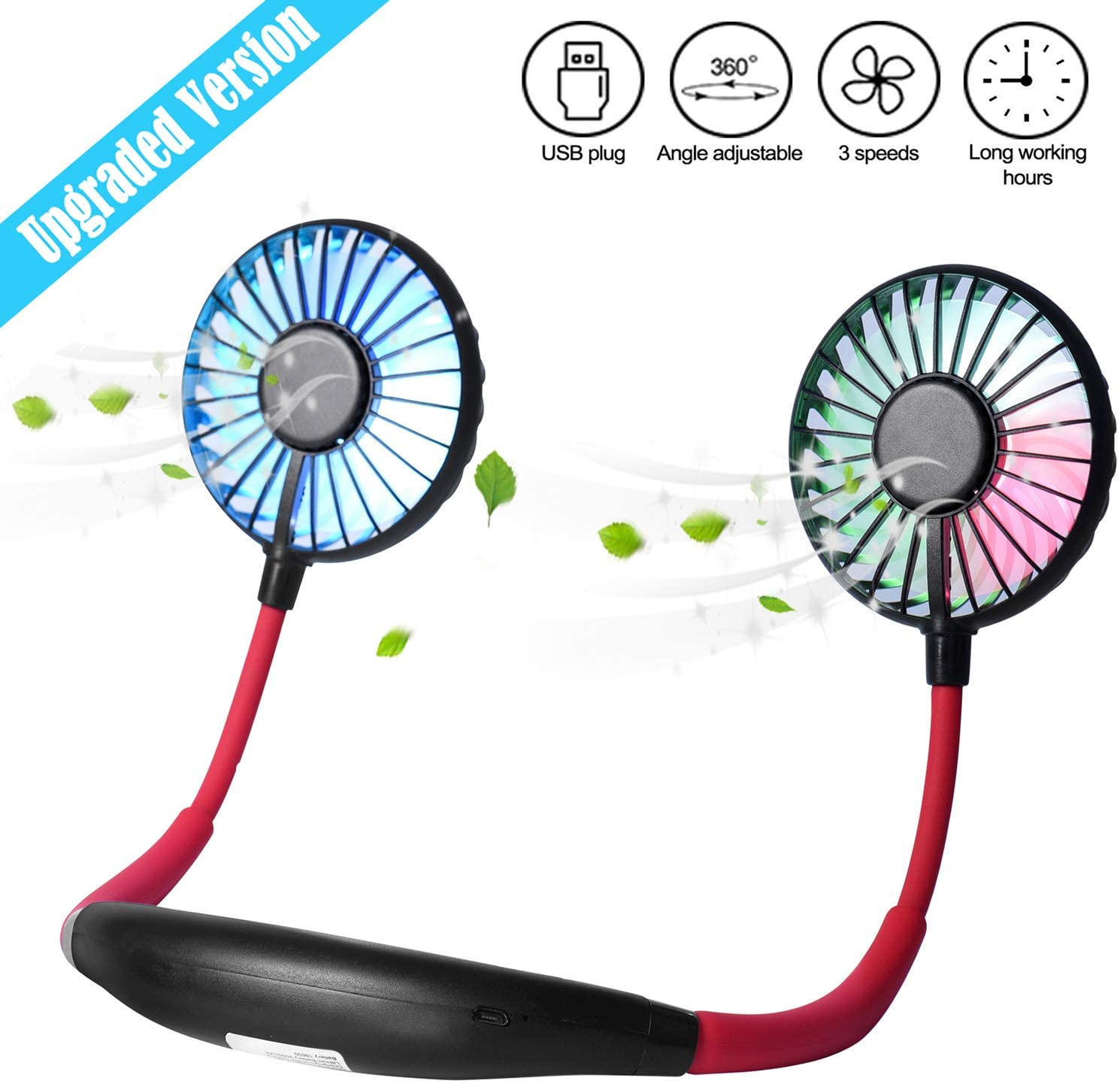 Air Cooler Adjustable Speed Mini Portable Fan USB Rechargeable Creative Cute Fan Mirror Style Color : Black