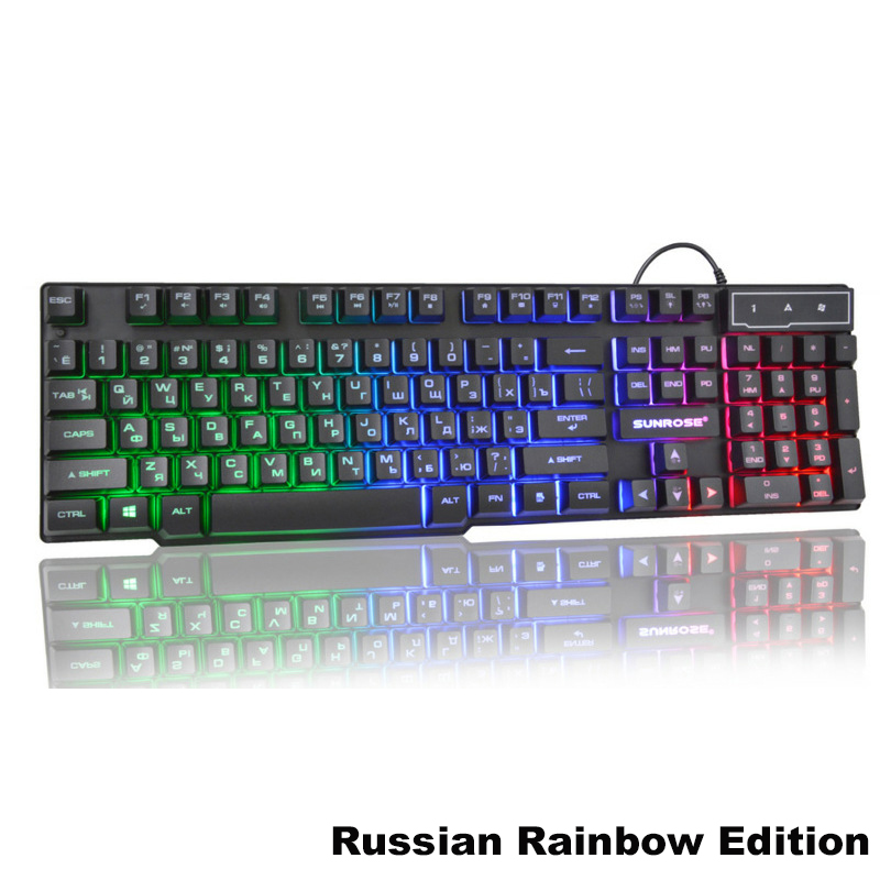 Color : White Silver Rainbow Backlight Metal Mechanical Feel Gaming Keyboard Wired Desktop Laptop External USB Home Office Mute Backlight