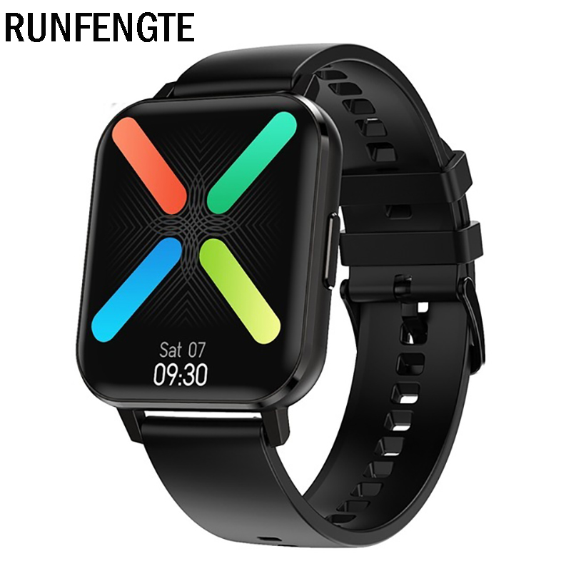 RUNFENGTE 1.78 inch Full Touch Screen Bluetooth Calling DTX Smartwatch Men IP68 Waterproof Sports Smart Watch Heart Rate Monitor Fitness Tracker - Black Silicone