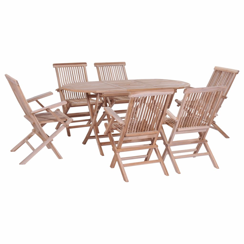 7 Piece Folding Outdoor Dining Set Solid Teak Wood Sale Price Reviews Gearbest Mobile