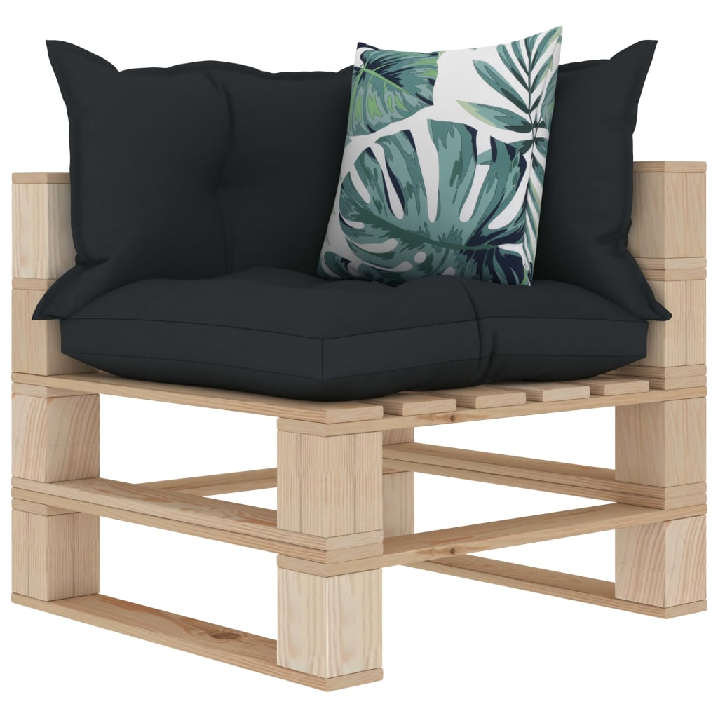 Garden Pallet Corner Sofa With Anthracite And Flower Cushions Wood Sale Price Reviews Gearbest Mobile