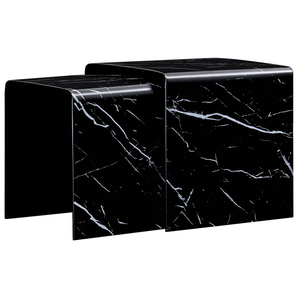 Picture of: Nesting Coffee Tables 2 Pcs Black Marble Effect 42x42x41 5 Cm Tempered Glass Sale Price Reviews Gearbest Mobile