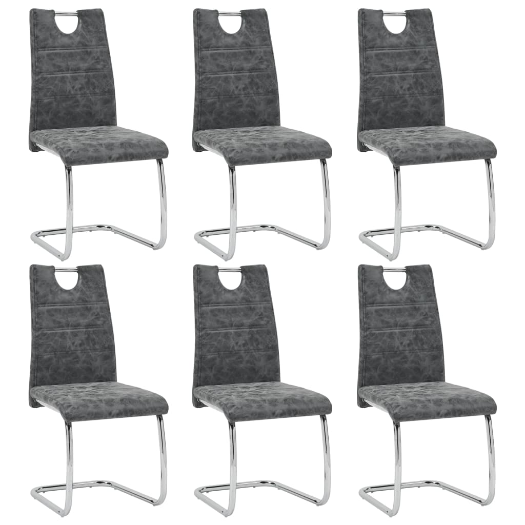 Dining Chairs 6 Pcs Black Faux Leather Modern Sale Price Reviews Gearbest