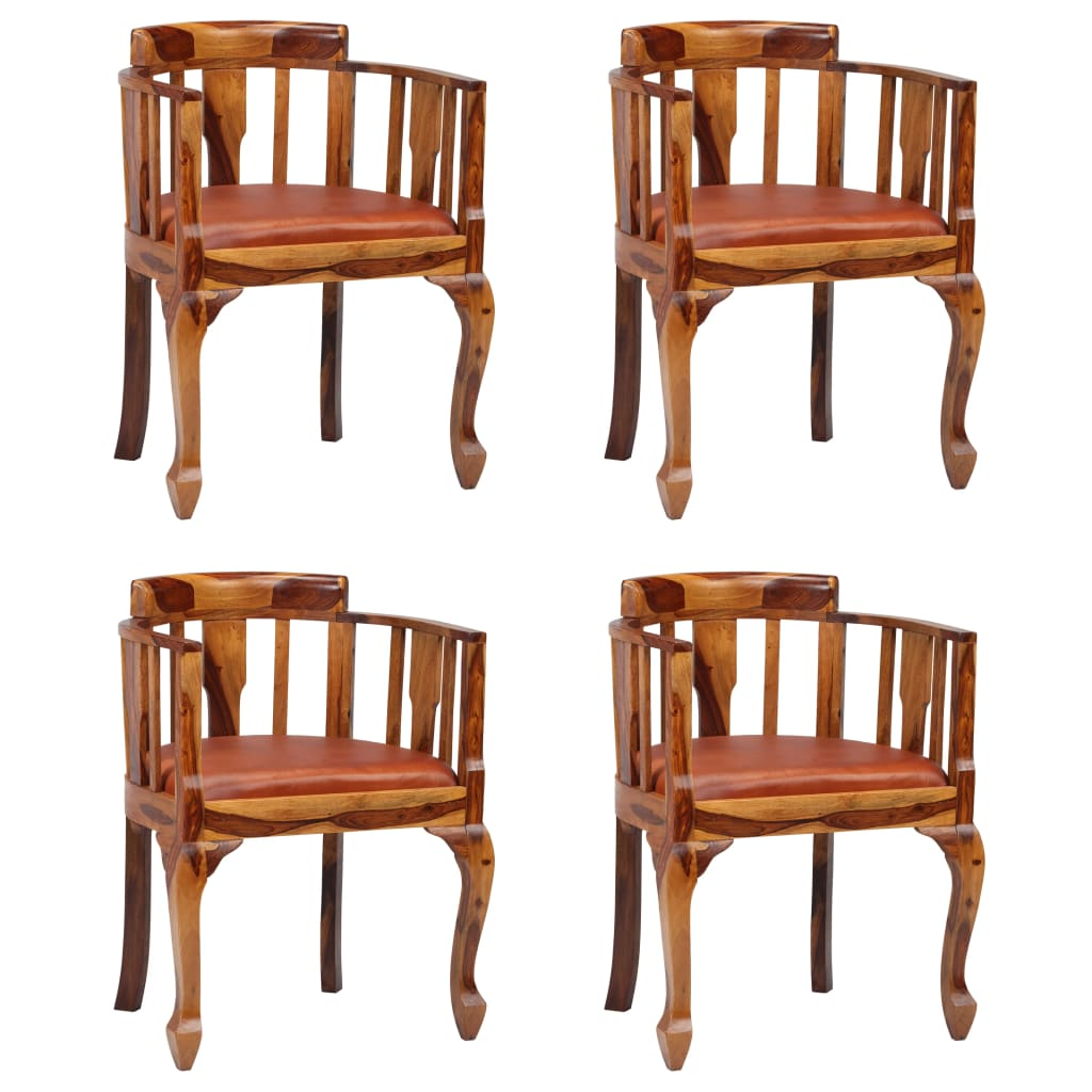Dining Chairs 4 Pcs Real Leather And Solid Sheesham Wood Sale Price Reviews Gearbest