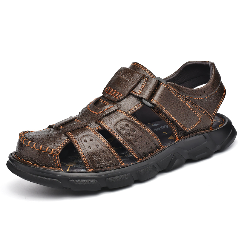 Mens First Layer Leather Casual Sandals