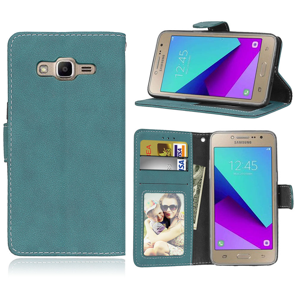 Card Slots Wallet Case Flip Cover PU Leather for Samsung Galaxy Grand Prime Plus / J2 Prime G532F